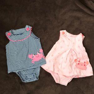 Baby Girl's Carter's Crab Design Dress Bodysuits
